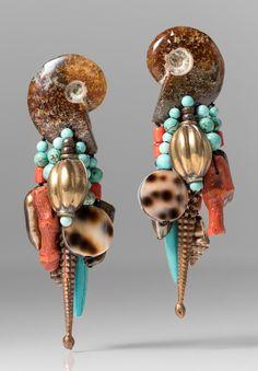 Monies UNIQUE Ammonite, Turquoise, Shell, & Copper Earrings