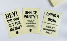 Use our free templates to create party invitations on Post-It notes!  Free office party invite via Spark & Chemistry
