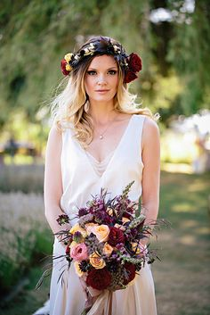 Incredible floral crown and matching bridal bouquet with photos by Jennifer Ballard Photography and florals by Verbena Floral Design   via junebugweddings.com