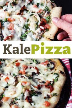 This kale pizza is loaded with leafy greens, mushrooms, two kinds of tomatoes, onions, and cheese. What a great way to get your vegetables! Beef Recipes For Dinner, Entree Recipes, Pizza Recipes, Sandwich Recipes, Bread Recipes, Baking Recipes, Kale Pizza, Pizza Pizza, Easy Healthy Recipes