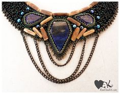 Lapis wood beaded statement necklace RebelSoulEK handmade jewelry elegant and rocky