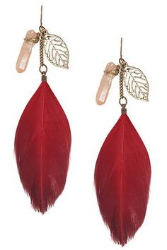 Leaf + Crystal + Feather Earrings