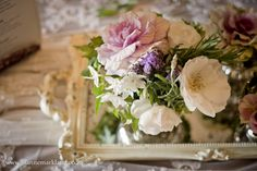 Vintage styled wedding table flowers