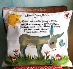 Eselchen und Schmetterling, Hans Christian Andersen, Kissenbezug aus Bio-Baumwolle, individuelles Geschenk zur Taufe, Geschenk Patenkind