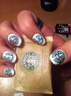 ninails:    Starbucks Nails,.. handpainted on fake nails  me: ya its cool but id never be able to pull this off!