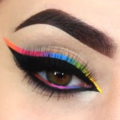 Eyebrow Shaping Discover How cool is this look! Always a fun time wearing the colors of the rainbow makeup videos makeup tutorial makeup shadows shadow colors colors eye makeup Makeup Eye Looks, Eye Makeup Art, Beautiful Eye Makeup, Colorful Eye Makeup, Skin Makeup, Eyeshadow Makeup, Eyeshadow Crease, 60s Makeup, Bold Eye Makeup