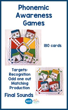 Love games? me too!Our phonemic awareness series of games target skills while having fun.Phonological awareness is the ability to become aware of the phonological base of our language by being able to separate the sounds or phonemes in words and to manipulate them.This game focuses on developing awareness of the final sounds in words.The resources contain 180 cards in four groups.