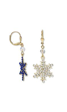 Jewelry Design - Reversible Earrings with Gold-Finished Brass Charms, Swarovski® Crystals and Preciosa Czech Crystal Beadsand Beads
