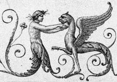 Half-figure feeding a Griffin, fantasy style motifs from the Domus Aurea, Rome (detail of engraving made in 1776).