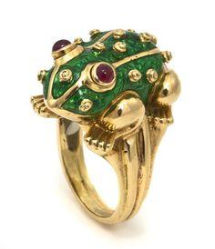 An 18 Karat Yellow Gold, Ruby and Enamel Frog Ring, David Webb