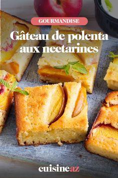 Ce gâteau au fruit et polenta est à base de nectarines. #recette#cuisine#gateau #polenta#patisserie #nectarines #fruit French Toast, Breakfast, Desserts, Food, Butter Cakes, Sugar Cake, Polenta Cakes, Seasonal Fruits, Morning Coffee