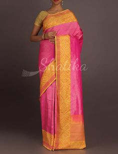 Manasi Splendrous Plain With Ornate Border Real Zari #BanarasiBrocadeSilkSaree