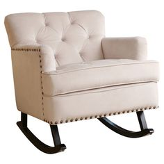 Lucy Tufted Velvet Rocking Chair in Ivory