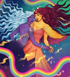 ♥ Star Loves Moon ♥ Artwork by Jen Bartel ( Dope Kunst, Creation Art, Lesbian Art, Psy Art, Goddess Art, Witch Art, Hippie Art, Arte Pop, Dope Art