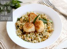 Scallops with Tri-Color Couscous | The Realistic Nutritionist