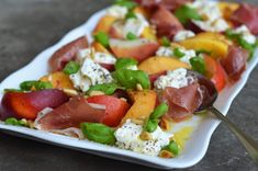 Peaches, Burrata & Prosciutto with White Balsamic Vinagrette - Once Upon a Chef SS: This dish is one of my favorite things about summer. It is absolutely delicious, and I wouldn't change anything. Prosciutto, Burrata Salad, Caprese Salad, Healthy Salads, Healthy Recipes, Healthy Eating, Healthy Foods, Diet Recipes, Vegetarian Recipes