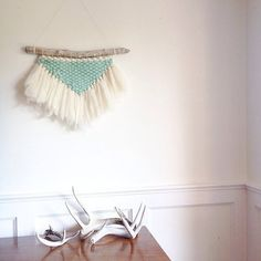 Hand Woven Large Merino wool Mint and Ivory Wall Hanging. This entire piece is made from Merino wool roving. Its lush in texture and an inch thick.
