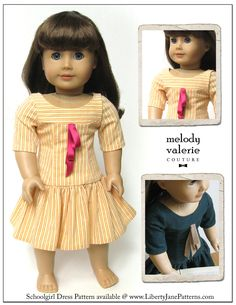 Holiday Gift Idea! Schoolgirl doll clothes pattern | Melody Valerie Couture |