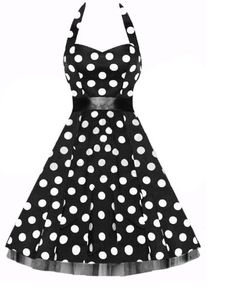 Vintage 1950`s Rockabilly Style Black Bow Swing Cocktail Evening Dress for only $49.99