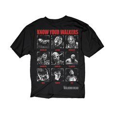 The Walking Dead Know Your Walkers Adult Black T-Shirt ($17) ❤ liked on Polyvore featuring tops and t-shirts