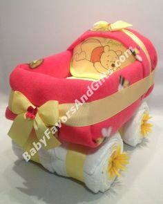 Adorable Pooh Carriage Diaper Cake, unique baby shower gifts