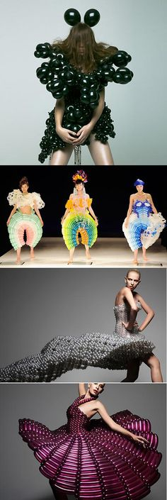 This is crazy! I think I know what the designer and models were  fearing as they hit the runway!  Made out of balloons!