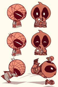 deadpool and spiderman cute! I dont ship them but you gotta admit that in chibi form they are ADORABLE!!!!!