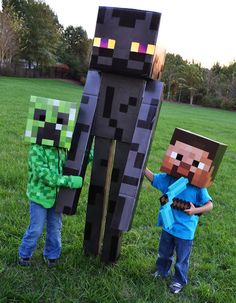 minecraft enderman costume, creeper costume, and steve costume. Minecraft Halloween Costume, Creeper Costume, Minecraft Costumes, Minecraft Crafts, Family Costumes, Family Halloween Costumes, Boy Costumes, Zombie Costumes, Spider Costume