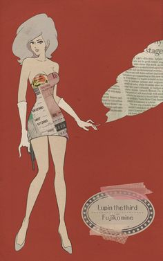Tags: Anime, Cigarette, Smoking, Lupin III, High Heels, Red Background, Mine Fujiko