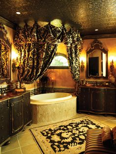 Tuscan bathroom design is a perfect combination of sheer indulgence and timeless beauty. For a Tuscan bathroom design, choosing the right wall color will set the feel for your Tuscan bath. Decor, House Design, Dream Bathrooms, Tuscan Bathroom Decor, Tuscan Style, Gothic House, Tuscan Decorating, Tuscan Bathroom, Beautiful Bathrooms