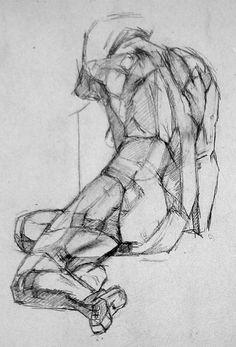 Alberto Giacometti, Portrait, 1932. Full figure rendered in planes.: