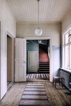colorful striped hallway rugs. / sfgirlbybay