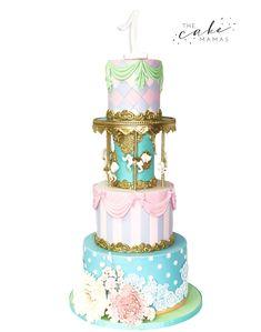 Carousel 1st Birthday Cake! Call of email to order your celebration cake today! #carousel #birthdays #1stbirthday #partyideas #birthdaycakes #cakedecorating #cake Birthday Cakes For Teens, Cupcake Birthday Cake, Birthday Cake Toppers, Cupcake Cakes, Birthday Ideas, Cupcakes, Carousel Cake, Carousel Birthday, Carousel Party
