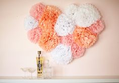 paper pompom's shaping a heart (idea)