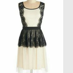 Modcloth refined taste dress Ivory and black Peplum dress. Very soft lace creating beautiful overlay. Tag says small but it fits like a medium. Worn once. No damages a'reve Dresses