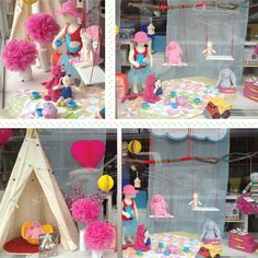 Create a spring-themed window display with bright colors.