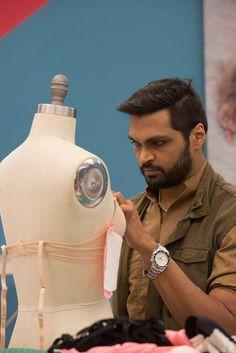 Designer Swapnil Shinde hard at work on his lingerie design.