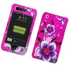 Insten / Red Hibiscus Flowers Rubberized Image Protector Case Cover for Apple iPhone 3G/ 3GS #2316711