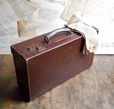 Vintage locking leather suitcase. Classic.