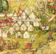 1476- 1513? Swiss Army in Murten  [See also http://almanach.historyczny.org/wiki/Plik:Almanach-Kroniki_z_Lucerny-Bitwa_pod_Murten-XVI.jpeg]
