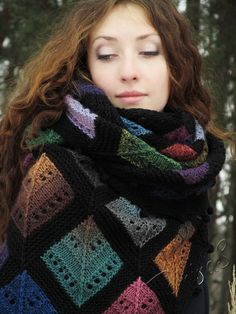 """Tiffany"" (knitted shawl, wrap, knitting lace, wool shawl, modular squares, patchwork, stained-glass)"