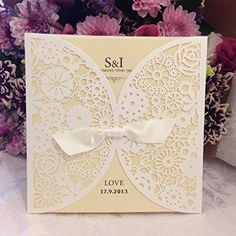 DIY Laser Cut Lace Vintage Flower Wedding Invitation Template Invite Card Cover with White Bows (50PCS)