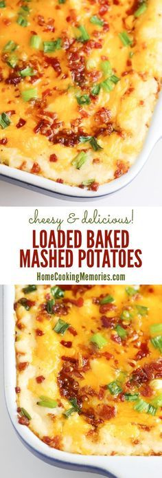 Cheesy potato goodness! Loaded Baked Mashed Potatoes recipe - a delicious side dish loaded with cheese, bacon, roasted garlic, & more!