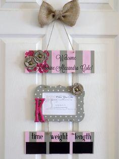 12 x 21 Welcome Baby Girl Hospital Door Hanger by OliveYewToo