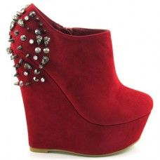ESSEX GLAM CH180 RED SUEDE SPIKE STUDDED WEDGE ANKLE BOOTIE  £24.99
