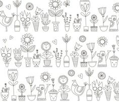 Spoonflower Fabric of the week voting: Floral coloring book wallpaper