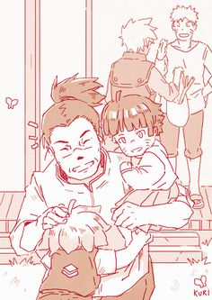 Iruka-sensei patting Bolt's head while carrying Himawari & Naruto and Kakashi talking at the back! <3 | Naruto Gaiden