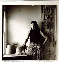 Edie Beale and one of the cats, both still grieving over her mother's death - Grey Gardens, 1978 - Image taken by Frank Battaglia.
