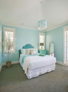Beautiful Turquoise Room Decoration Ideas for Inspiration Modern Interior Design and Decor. more search: turquoise room ideas teenage, turquoise bedroom ideas, turquoise living room ideas, turquoise room decorating ideas. House Of Turquoise, Bedroom Turquoise, Turquoise Walls, Teal Bedroom Walls, Light Turquoise, Painting Bedroom Walls, Turquoise Wall Decor, Decorating Rooms, Girl Room Decor