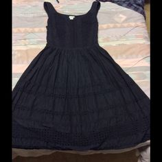 Odille Little Black Dress 2 cotton Cotton, hardly worn, don't have fabric belt- use a nice patent leather one! Size 2 no fading, lined Anthropologie Dresses